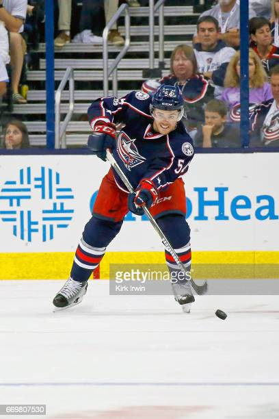 Scott Harrington of the Columbus Blue Jackets controls the puck in Game Three of the Eastern Conference First Round during the 2017 NHL Stanley Cup...