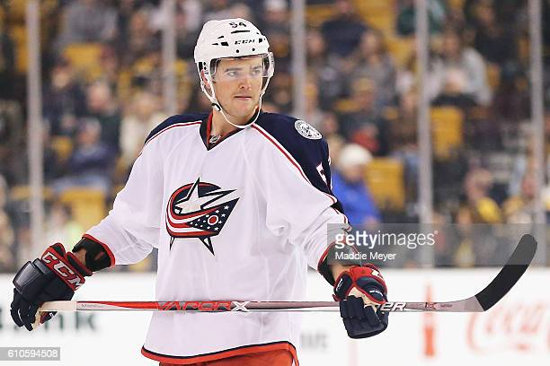 Scott Harrington of the Columbus Blue Jackets looks on during the second period of the preseason game against the Boston Bruins at TD Garden on...