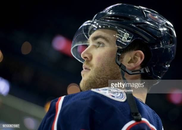 Scott Harrington of the Columbus Blue Jackets looks on during warmups before the game between the Columbus Blue Jackets and the Pittsburgh Penguins...