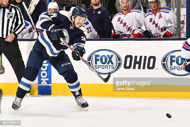 Scott Harrington of the Columbus Blue Jackets shoots the puck during the first period of a game against the New York Rangers on November 18 2016 at...