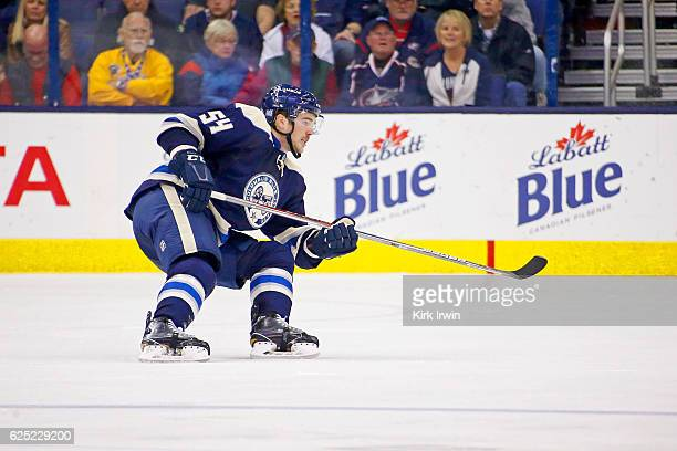 Scott Harrington of the Columbus Blue Jackets skates after the puck during the game against the New York Rangers on November 18 2016 at Nationwide...