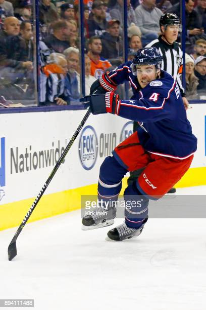 Scott Harrington of the Columbus Blue Jackets skates after the puck during the game against the Edmonton Oilers on December 12 2017 at Nationwide...