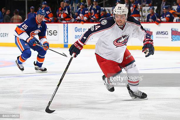 Scott Harrington of the Columbus Blue Jackets skates against the New York Islanders at the Barclays Center on January 24 2017 in Brooklyn borough of...