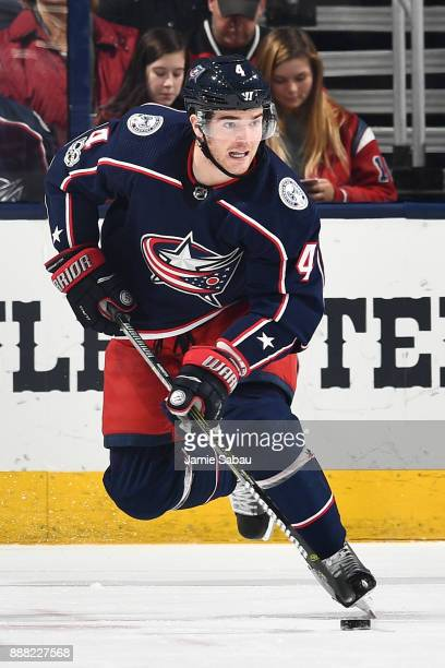 Scott Harrington of the Columbus Blue Jackets skates against the New Jersey Devils on December 5 2017 at Nationwide Arena in Columbus Ohio
