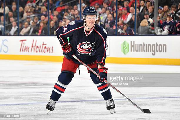 Scott Harrington of the Columbus Blue Jackets skates against the Washington Capitals on November 15 2016 at Nationwide Arena in Columbus Ohio...