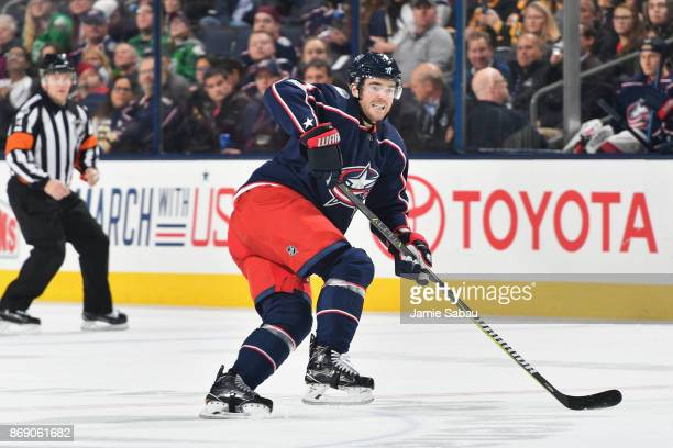 Scott Harrington of the Columbus Blue Jackets skates against the Boston Bruins on October 30 2017 at Nationwide Arena in Columbus Ohio