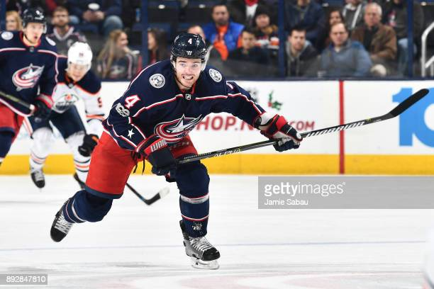 Scott Harrington of the Columbus Blue Jackets skates against the Edmonton Oilers on December 12 2017 at Nationwide Arena in Columbus Ohio