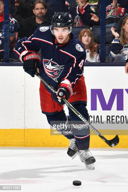 Scott Harrington of the Columbus Blue Jackets skates against the Vancouver Canucks on January 12 2018 at Nationwide Arena in Columbus Ohio
