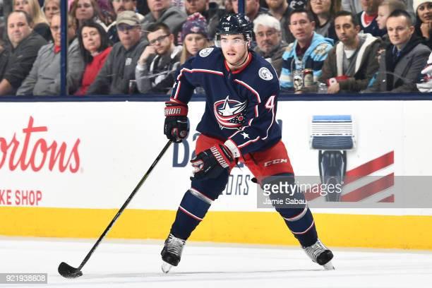 Scott Harrington of the Columbus Blue Jackets skates against the Pittsburgh Penguins on February 18 2018 at Nationwide Arena in Columbus Ohio