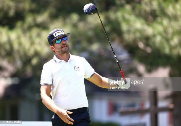 Scott Harrington of the United States plays a shot during the final round of the Rocket Mortgage Classic on July 05 2020 at the Detroit Golf Club in...