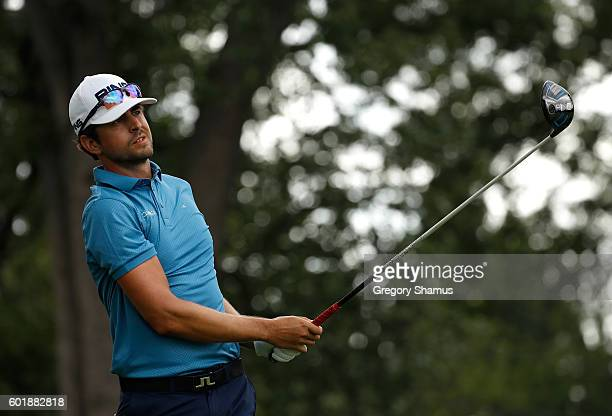 Scott Harrington watches his tee shot on the fourth hole during the third round of the Webcom Tour 2016 DAP Championship at the Canterbury Golf Club...
