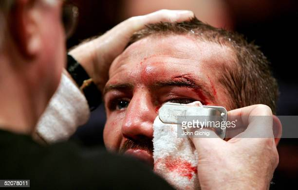 Scott Harrison during the WBO featherweight title fight against Victor Polo on January 28 2005 at the Braehead Arena Glasgow Scotland