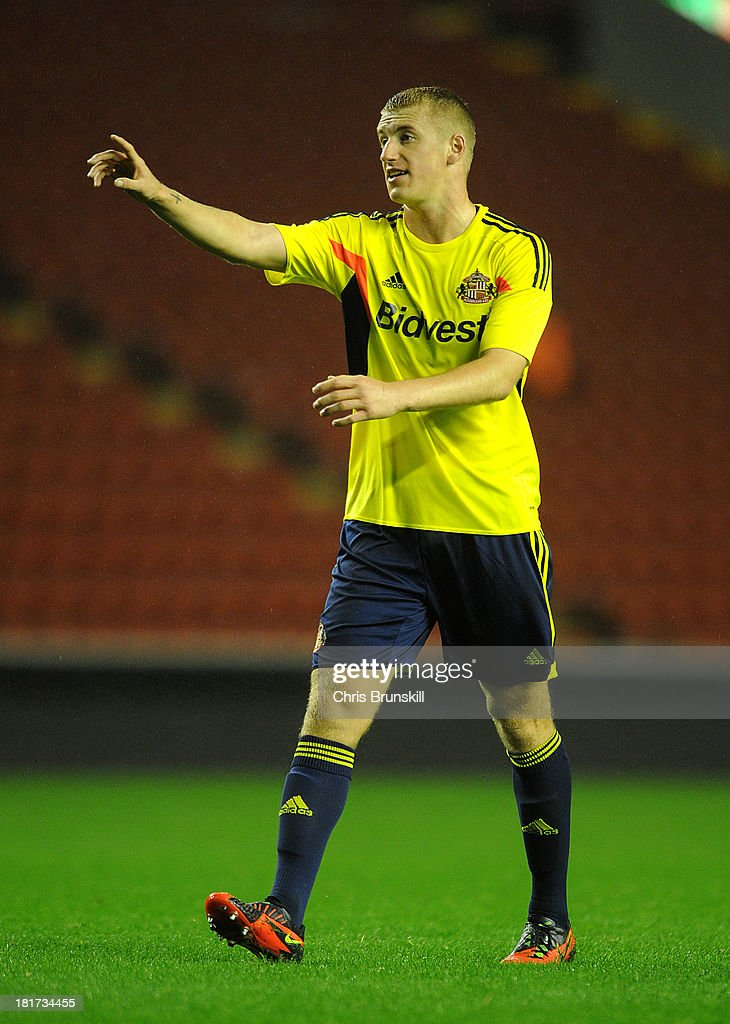 Scott Harrison of Sunderland U21 gestures during the Barclays U21s Premier League match between Liverpool U21 and Sunderland U21 at Anfield on September 17, 2013 in Liverpool, England.