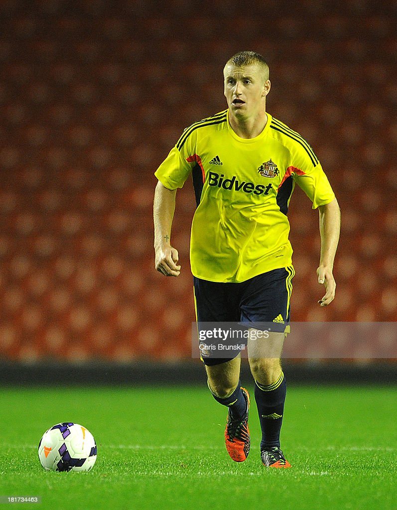 Scott Harrison of Sunderland U21 in action during the Barclays U21s Premier League match between Liverpool U21 and Sunderland U21 at Anfield on September 17, 2013 in Liverpool, England.