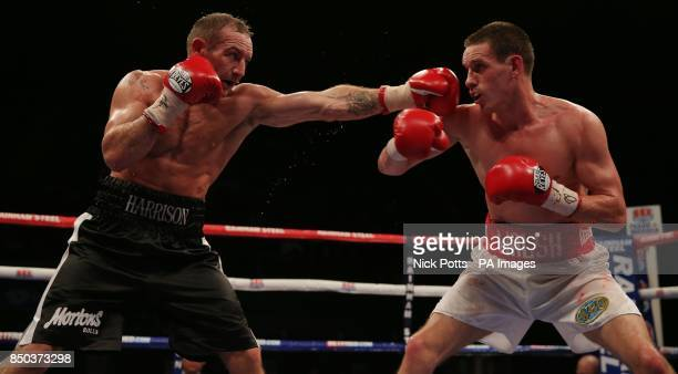 Scott Harrison on his way to being defeated by Liam Walsh during the WBO European Lightweight Championship fight at Wembley Arena London