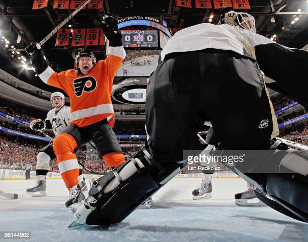 Scott Hartnell of the Philadelphia Flyers celebrates a first period goal by Jeff Carter against the Pittsburgh Penguins on January 24, 2010 at the...
