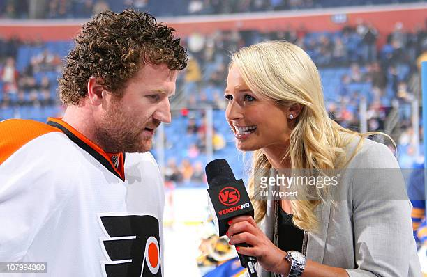 Scott Hartnell of the Philadelphia Flyers is interviewed by Sarah Kustok of the Versus Network before their game against the Buffalo Sabres at HSBC...