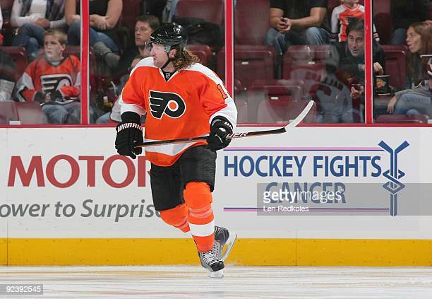 Scott Hartnell of the Philadelphia Flyers skates past the Hockey Fights Cancer dasher in a NHL game against the Florida Panthers on October 24 2009...