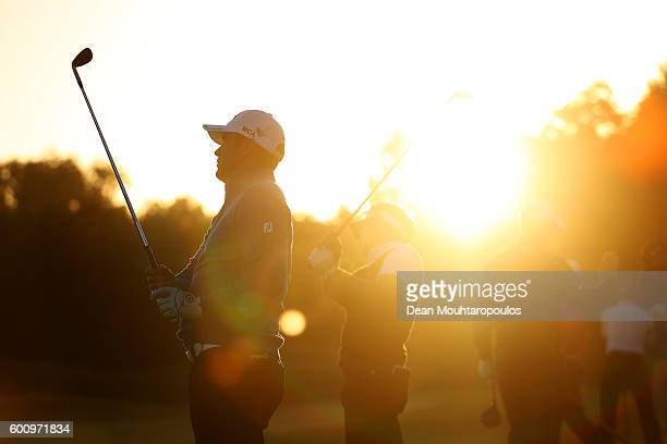 Scott Hend of Australia hits a shot on the practice range before the second round on day two of the KLM Open at The Dutch on September 9 2016 in...