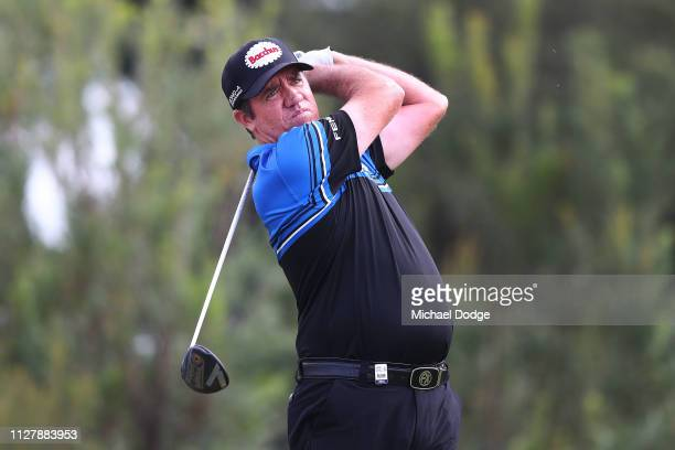 Scott Hend of Australia hits an approach shot during Day one of the ISPS Handa Vic Open at 13th Beach Golf Club on February 07 2019 in Geelong...