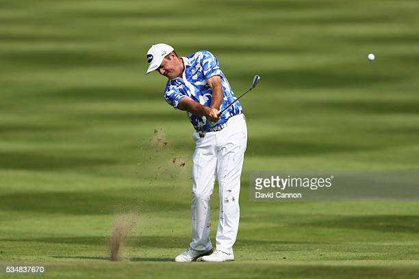 Scott Hend of Australia hits his 2nd shot on the 12th hole during day three of the BMW PGA Championship at Wentworth on May 28 2016 in Virginia Water...
