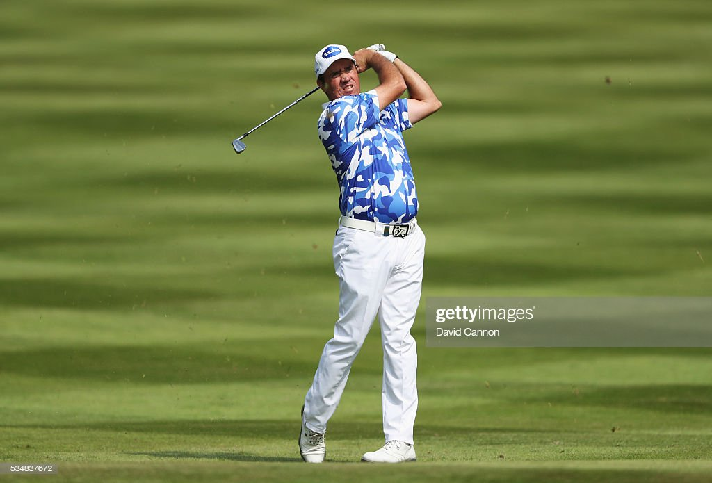 Scott Hend of Australia hits his 2nd shot on the 12th hole during day three of the BMW PGA Championship at Wentworth on May 28, 2016 in Virginia Water, England.