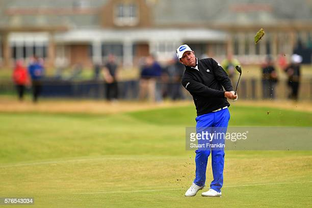 Scott Hend of Australia hits his approach shot on the 2nd during the third round on day three of the 145th Open Championship at Royal Troon on July...