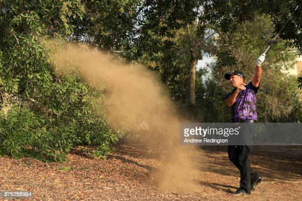Scott Hend of Australia hits his second shot on the 15th hole during the second round of the DP World Tour Championship at Jumeirah Golf Estates on...