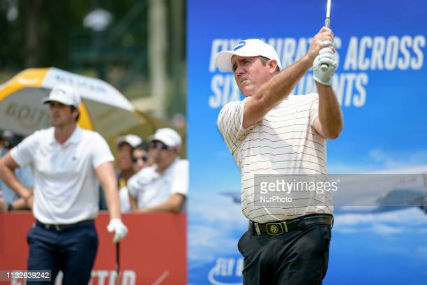 Scott Hend of Australia hits his teeshot on the on the 16th hole on Day Four of the Maybank Championship at Saujana Golf and Country Club on March 24...