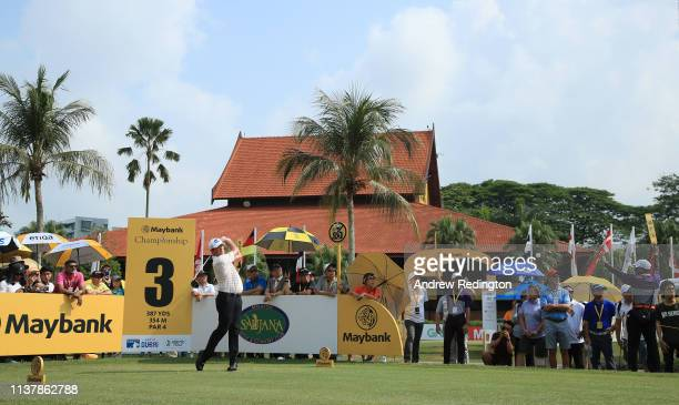 Scott Hend of Australia hits his teeshot on the third hole during Day Four of the Maybank Championship at Saujana Golf Country Club Palm Course on...