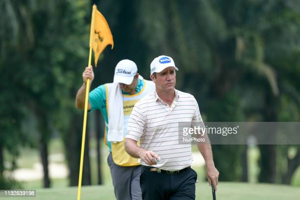 Scott Hend of Australia in action on the 15th hole on Day Four of the Maybank Championship at Saujana Golf and Country Club on March 24 2019 in Kuala...