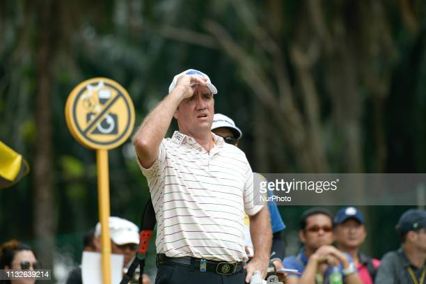Scott Hend of Australia is pictured on the 18th hole on Day Four of the Maybank Championship at Saujana Golf and Country Club on March 24 2019 in...