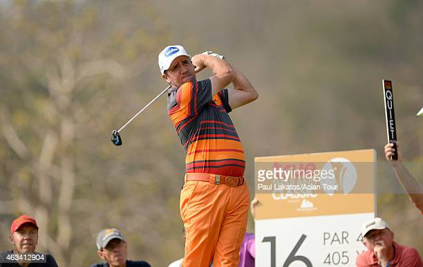 Scott Hend of Australia plays a shot during round three of the Thailand Classic at Black Mountain Golf Club on February 14 2015 in Hua Hin Thailand