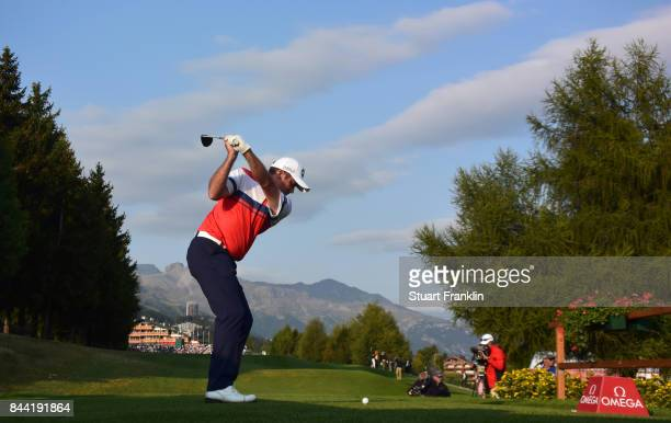 Scott Hend of Australia plays a shot during the second round of the Omega European Masters at CranssurSierre Golf Club on September 8 2017 in...