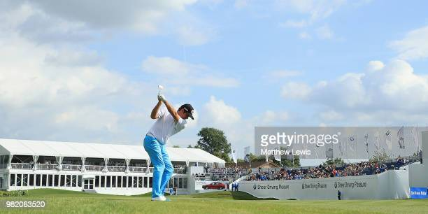 Scott Hend of Australia plays his second shot from the 18th fairway during day three of the BMW International Open at Golf Club Gut Larchenhof on...