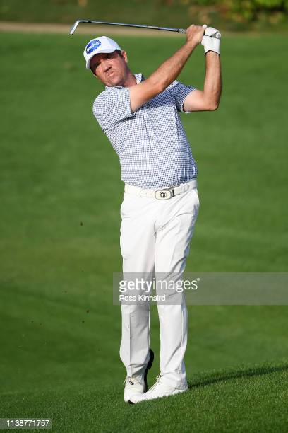 Scott Hend of Australia plays his second shot on the 10th hole during round one of the Hero Indian Open at the DLF Golf Country Club on March 28 2019...