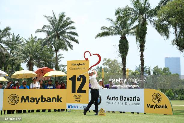 Scott Hend of Australia plays his shot on the 12th hole during Day Four of the Maybank Championship at Saujana Golf Country Club Palm Course on March...