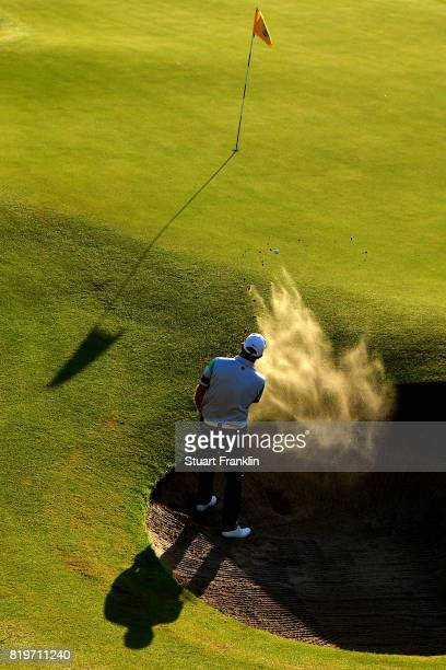 Scott Hend of Australia plays out of a bunker on the 17th hole during the first round of the 146th Open Championship at Royal Birkdale on July 20...