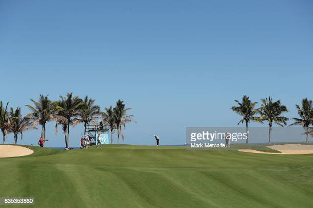 Scott Hend of Australia putts on the 10th hole during day three of the 2017 Fiji International at Natadola Bay Championship Golf Course on August 19...