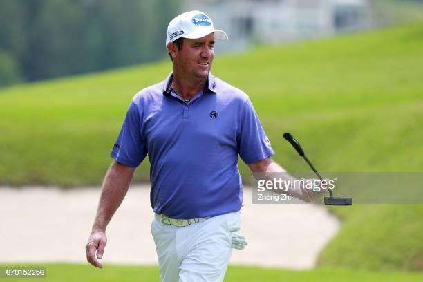 Scott Hend of Australia reacts during the proam prior to the start of the Shenzhen International at Genzon Golf Club on April 19 2017 in Shenzhen...