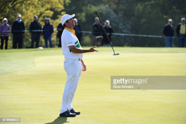 Scott Hend of Australia reacts to a missed putt on the 3rd green during the final match between Denmark and Australia during day two of GolfSixes at...
