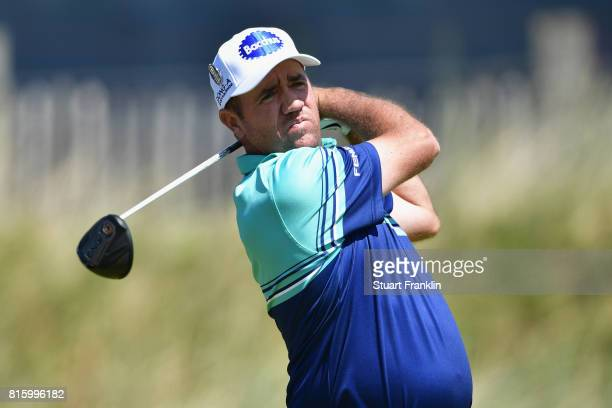 Scott Hend of Australia tees off during a practice round prior to the 146th Open Championship at Royal Birkdale on July 17 2017 in Southport England
