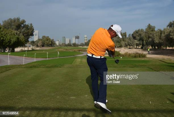 Scott Hend of Australia tees off from the 1st hole prior to the Commercial Bank Qatar Masters at Doha Golf Club on February 21 2018 in Doha Qatar