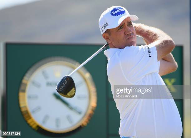 Scott Hend of Australia tees off on the first hole during the second round of the Dubai Duty Free Irish Open at Ballyliffin Golf Club on July 6 2018...