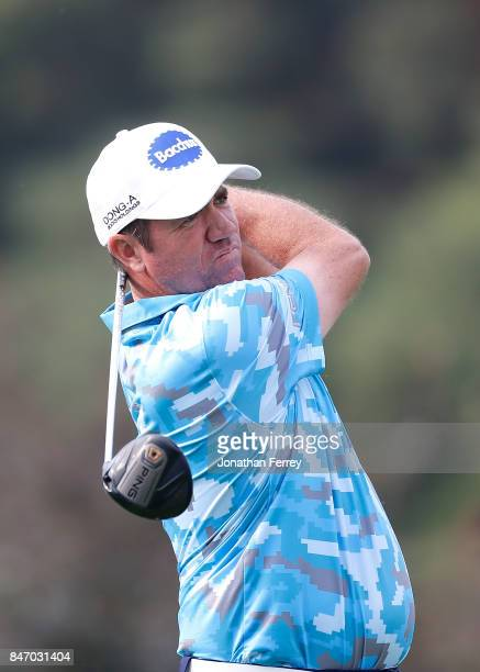 Scott Hend of Australia tees off on the ninth hole during the first round of the Webcom Tour Albertson's Boise Open at Hillcrest Country Club on...