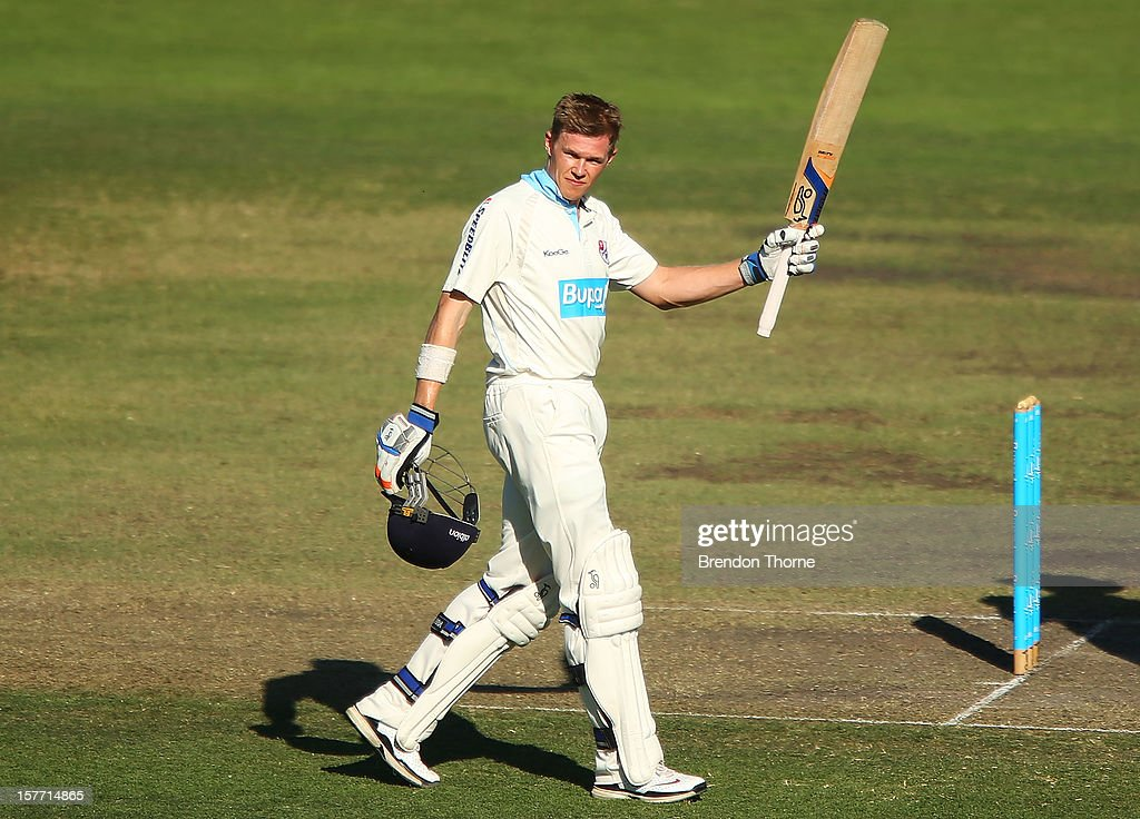 Scott Henry of Chairman's XI celebrates scoring one hundred and fifty runs during day one of the international tour match between the Chairman's XI and Sri Lanka at Manuka Oval on December 6, 2012 in Canberra, Australia.