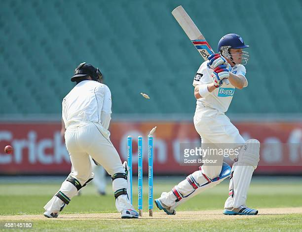 Scott Henry of New South Wales is out bowled by Fawad Ahmed of Victoria during day one of the Sheffield Shield match between Victoria and New South...