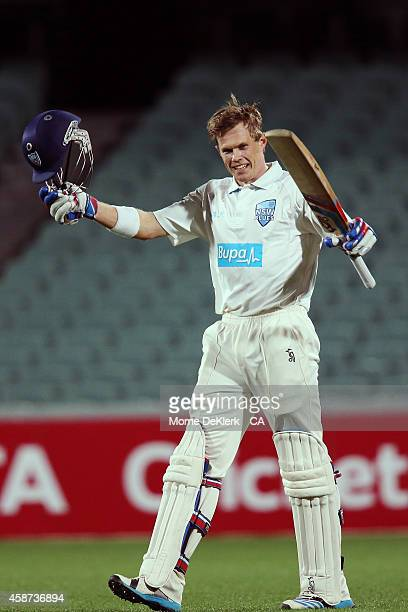 Scott Henry of the NSW Blues celebrates after he reached 100 runs during day three of the Sheffield Shield match between South Australia and New...