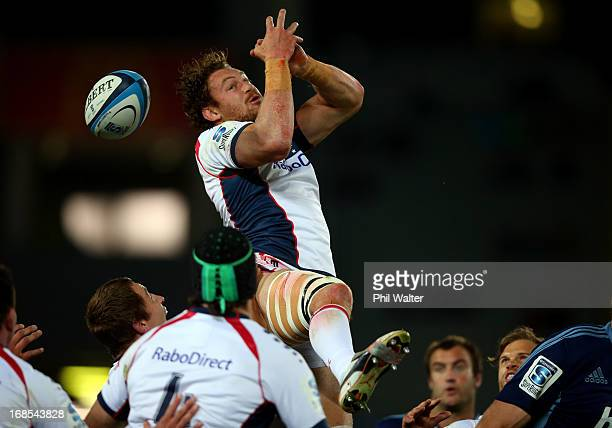 Scott Higginbotham of the Rebels looses the ball during the round 13 Super Rugby match between the Blues and the Rebels at Eden Park on May 11 2013...
