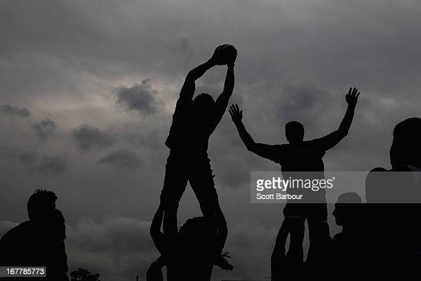 Scott Higginbotham of the Rebels wins a lineout during a Melbourne Rebels Super Rugby training session at AAMI Park on April 30 2013 in Melbourne...